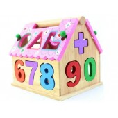 Colorful 0-9 Digital Geometry Shape Box Wooden Dollhouse Toy