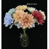 Colorful Artificial Flower Single Dehlia Stem Fake Silk